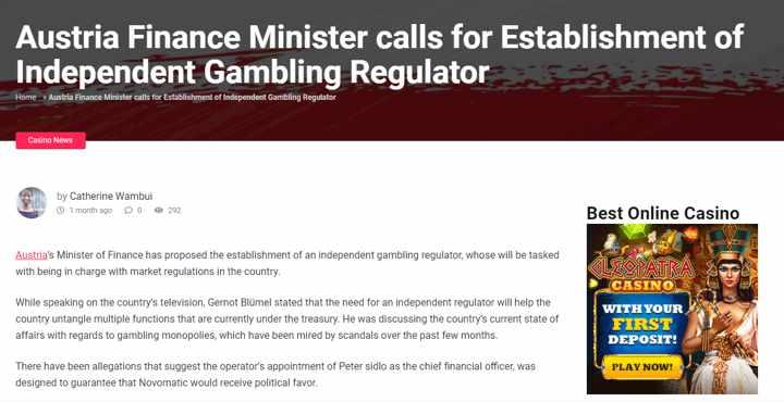 Austria Finance Minister calls for Establishment of Independent Gambling Regulator