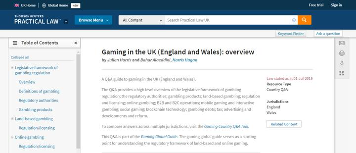 Gaming in the UK (England and Wales) overview